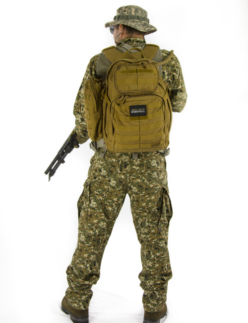 Advanced Operative Bug Out Bag Rear View on a Soldier