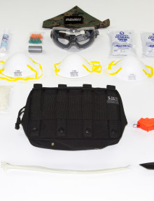 EDC items on white background