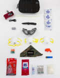EDC survival kit top view with white background
