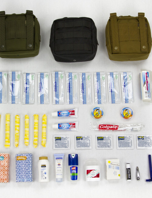 Ready To Go Survival Hygiene Kit made with 5.11 pouch, laid out on white background