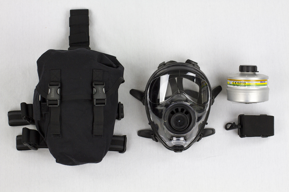 Mestel SGE 150 Gas Mask Survival Kit with Filter on white background