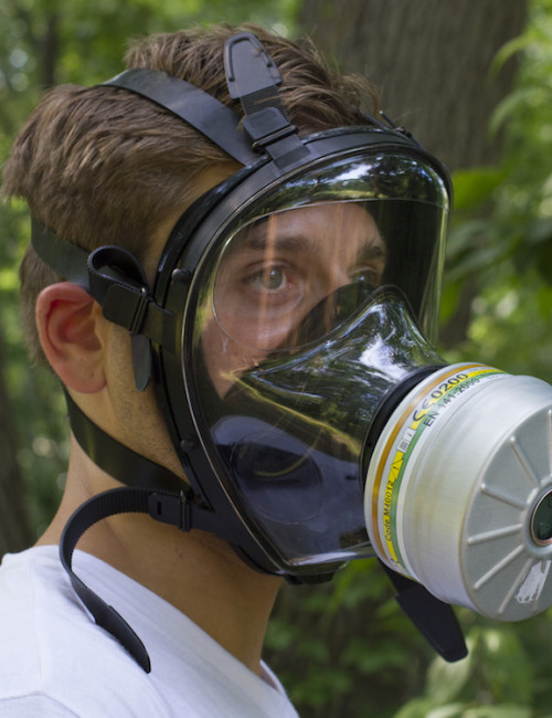 Mestel SGE 150 Gas Mask with Filter on Model