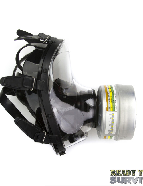 Mestel SGE 150 Chemical Gas Mask Side View with A2B2E2K2P3 Filter