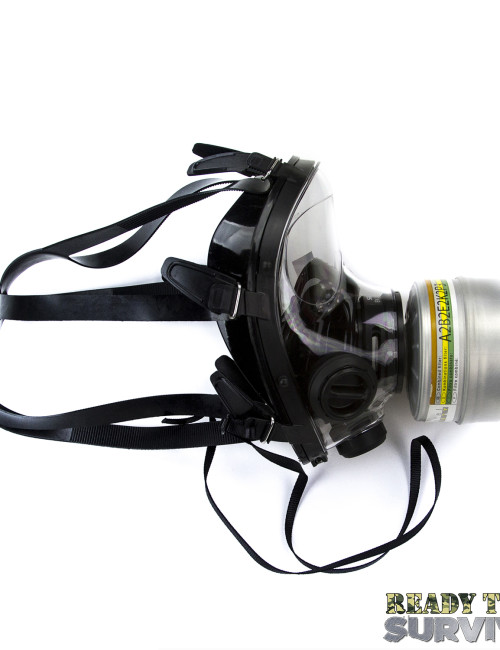 Mestel SGE 400/3 Military Gas Mask Side View with a2b2e2k2p3 Filter