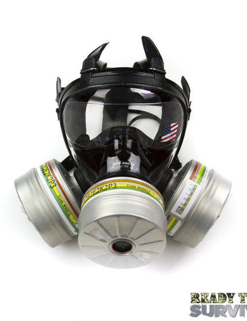 Mestel SGE 400/3 Military Gas Mask Top View with 3 a2b2e2k2p3 Filters