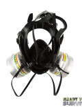 Mestel SGE 400/3 Military Gas Mask Rear View with 3 a2b2e2k2p3 Filters