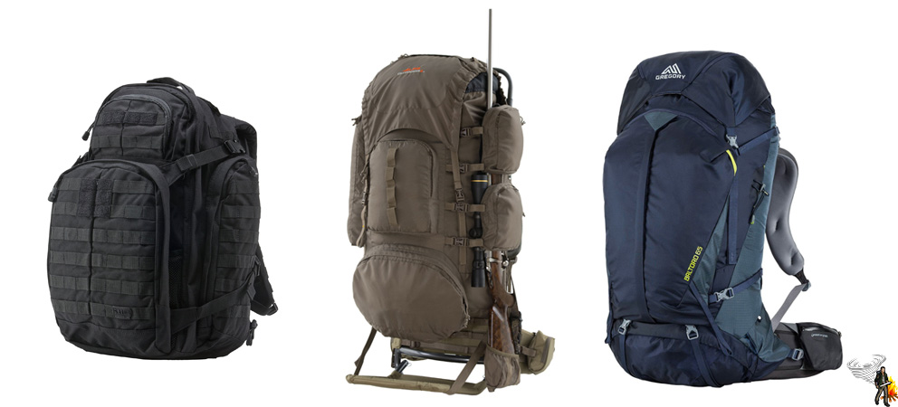 Lineup of backpacks on a white background to add to your bug out bag list