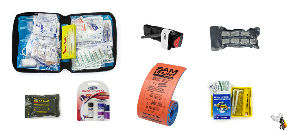 Bug out bag first aid module on a white background