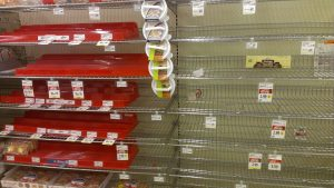 empty supermarket shelves showing the importance of survival planning