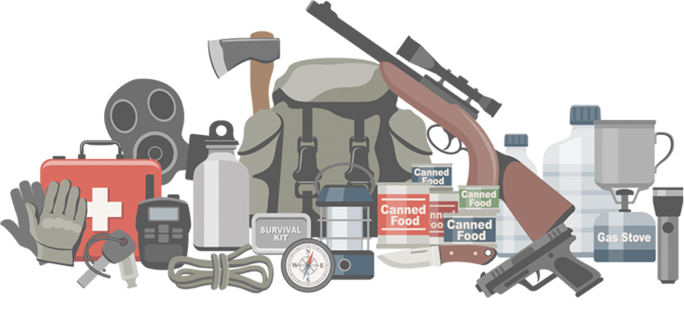 Animated prepper gear on a white background